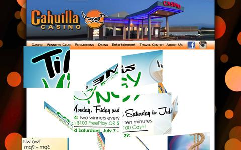Screenshot of Home Page cahuillacasino.com - Untitled Document - captured July 11, 2017
