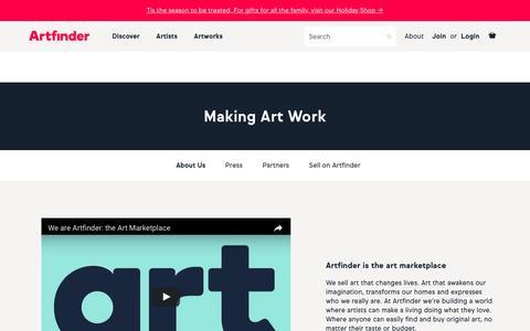 Screenshot of Jobs Page artfinder.com - About | Artfinder - captured Dec. 7, 2016
