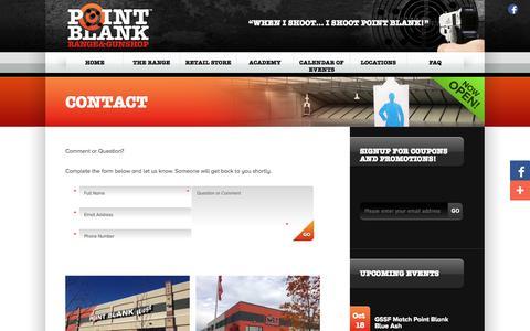 Screenshot of Contact Page shootpointblank.com - Contact | Point Blank Indoor Shooting Range & Gun Shop | Cincinnati Ohio - captured Oct. 2, 2014