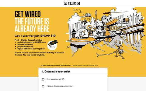 Screenshot of Landing Page wired.com - WIRED Magazine Subscription - captured April 19, 2018