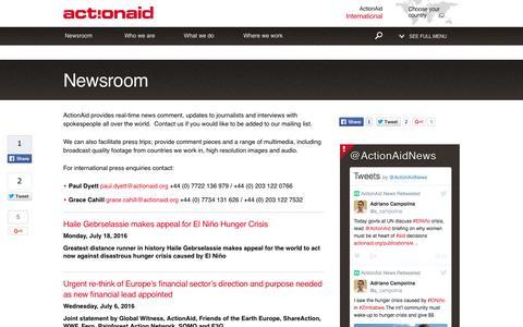 Screenshot of Press Page actionaid.org - Newsroom | ActionAid - captured July 24, 2016