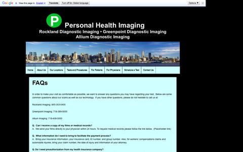 Screenshot of FAQ Page personalhealthimaging.com - FAQs | Personal Health Imaging - captured May 16, 2017