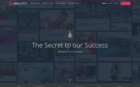 Screenshot of Case Studies Page adparlor.com - Success Stories | AdParlor Case Studies - captured Nov. 28, 2017