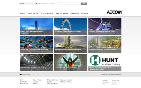 Screenshot of Home Page aecom.com - AECOM - A global provider of architecture, design, engineering, and construction services - captured Sept. 18, 2014