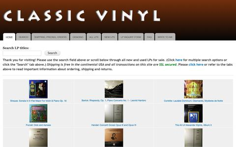 Screenshot of Home Page classicvinyl.com - Classic Vinyl LPs | ClassicVinyl.com | Classical Music on LP | David Hertzberg | Classical Records | Classical Vinyl Records and LPs - captured Nov. 13, 2018