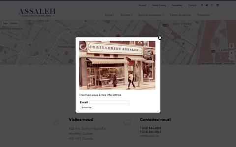 Screenshot of Contact Page assaleh.ca - Contact - Joailleries Assaleh - captured Nov. 27, 2016