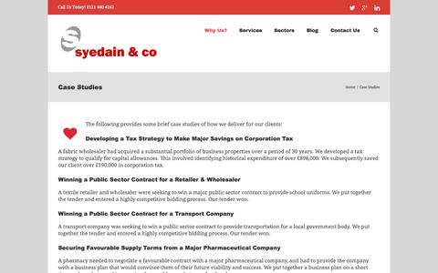 Screenshot of Case Studies Page syedain.co.uk - Case Studies - Accountants Birmingham, UK - captured Nov. 4, 2014