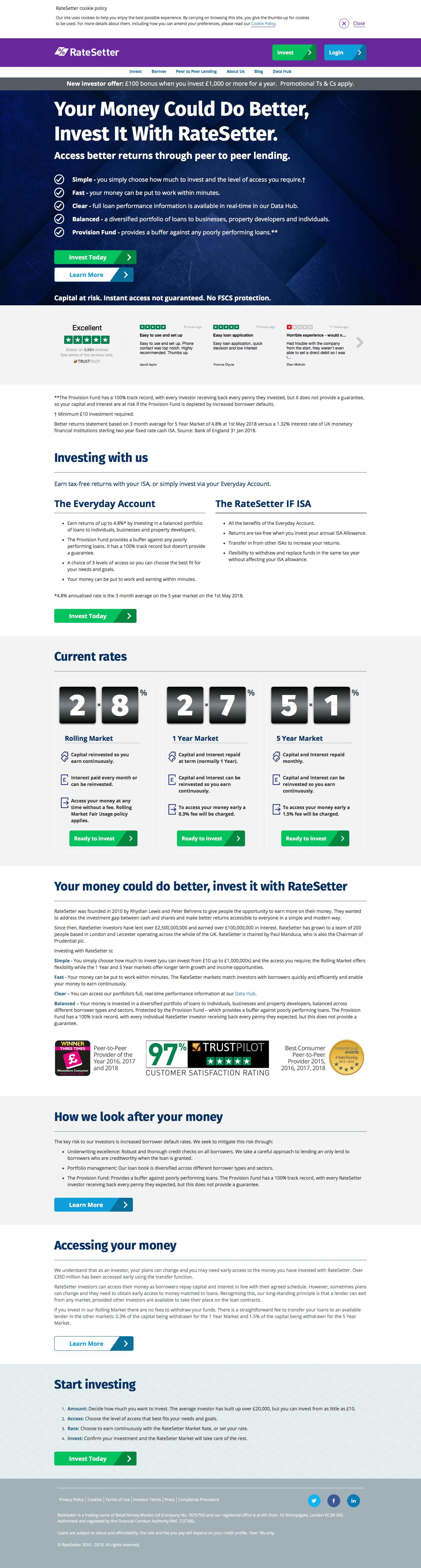 Screenshot of ratesetter.com - RateSetter Peer To Peer Lender | P2P Investing and Borrowing - captured May 22, 2018