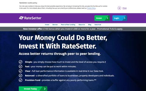 Screenshot of Home Page ratesetter.com - RateSetter Peer To Peer Lender | P2P Investing and Borrowing - captured May 22, 2018