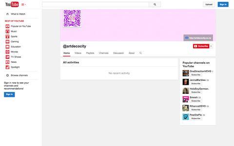 Screenshot of YouTube Page youtube.com - @artdecocity  - YouTube - captured Oct. 26, 2014