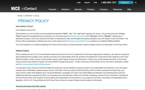 Screenshot of Privacy Page niceincontact.com - Privacy Policy - captured April 14, 2018