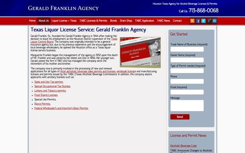 Screenshot of About Page geraldfranklinagency.com - Texas Beer Wine Liquor Permits   Alcohol License Service - captured July 7, 2016