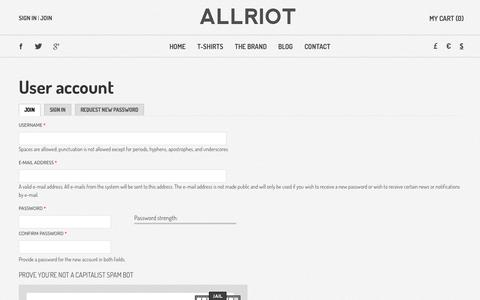 Screenshot of Signup Page allriot.com - User account | Political T-Shirts, Funny T-Shirts & UK Urban Streetwear Clothing - captured Oct. 7, 2014