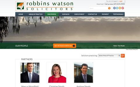 Screenshot of Team Page robbinswatson.com.au - Lawyers of Robbins Watson - Burleigh Heads | Robbins Watson - captured Oct. 6, 2014