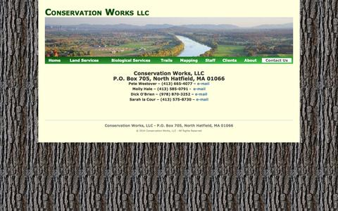 Screenshot of Contact Page conservationworksllc.com - Conservation Works » Contact Us - captured Sept. 30, 2014