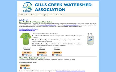 Screenshot of Signup Page gillscreekwatershed.org - Gills Creek Watershed Association - Join Now! - captured Nov. 6, 2016