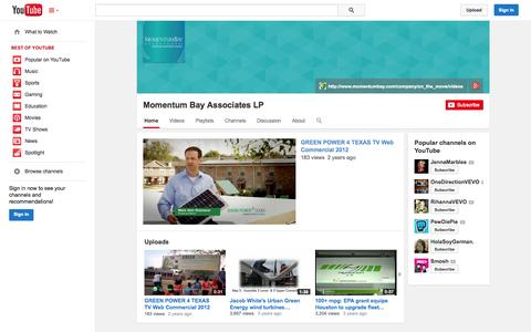 Screenshot of YouTube Page youtube.com - Momentum Bay Associates LP  - YouTube - captured Oct. 26, 2014