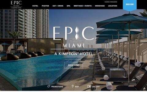 Screenshot of Home Page epichotel.com - Downtown Miami Hotels | EPIC, a Kimpton Boutique Hotel - captured Oct. 1, 2015