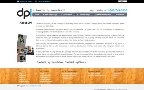 Screenshot of About Page bydpi.com - DPI Media Inc | About - captured Oct. 5, 2014