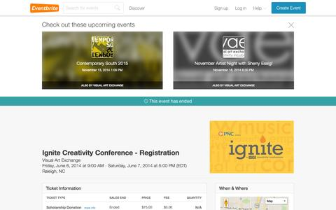 Screenshot of Support Page eventbrite.com - Ignite Creativity Conference - Registration Tickets, Raleigh - Eventbrite - captured Oct. 26, 2014