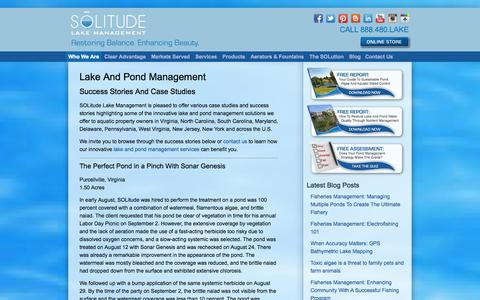 Screenshot of Case Studies Page solitudelakemanagement.com - Lake And Pond Management Success Stories And Case Studies - captured Sept. 30, 2014