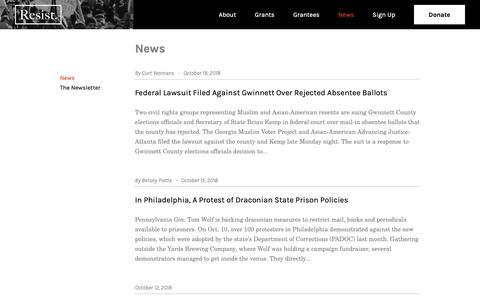 Screenshot of Press Page resist.org - News | RESIST - captured Oct. 20, 2018