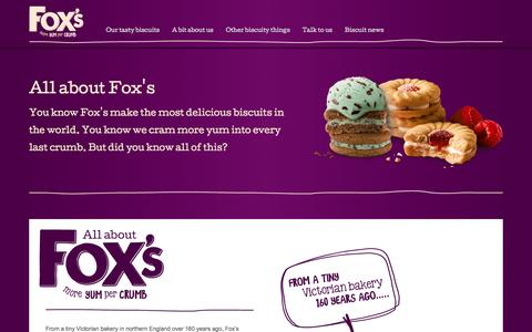 Screenshot of About Page foxs-biscuits.co.uk - A bit about us - captured Aug. 4, 2016