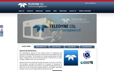 Screenshot of Home Page teledyne-cdl.com - Subsea Inertial Navigation - captured Sept. 30, 2014