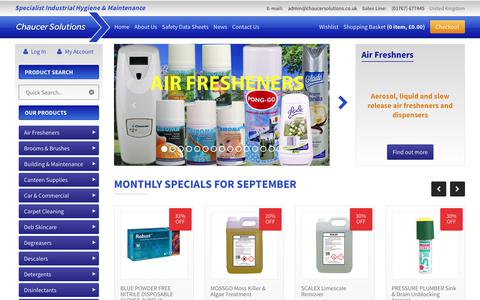 Screenshot of Home Page chaucersolutions.co.uk - Industrial and Commercial Cleaning Products, Supplies and Chemicals - captured Sept. 27, 2018