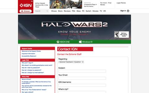 Screenshot of Contact Page ign.com - Contact the Editorial Staff - IGN - captured Feb. 18, 2017