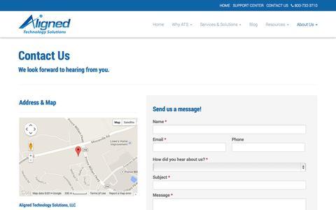 Screenshot of Contact Page alignedtechnologysolutions.com - Contact Us - Alexandria, Arlington, Tyson's Corner | Aligned Technology Solutions, LLC - captured Oct. 4, 2014