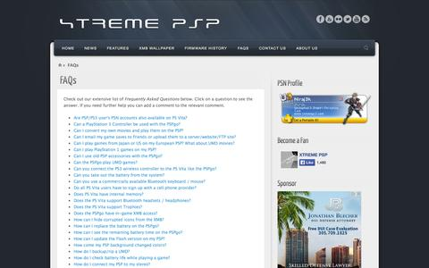 Screenshot of FAQ Page xtremepsp.com - FAQs | XTREME PSP - captured Oct. 27, 2014