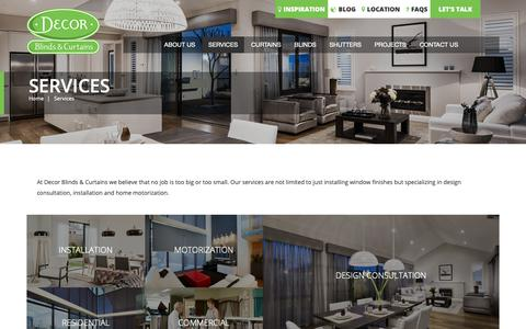 Screenshot of Services Page 13004decor.com.au - Blinds and Curtains Installation & Design + Consulting Services | Decor Blinds & Curtains - captured Nov. 13, 2018