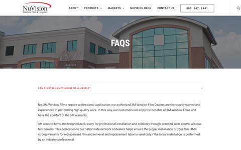 Screenshot of FAQ Page nvwindowfilm.com - Window Film Protection FAQ – NuVision Window Film & Graphics - captured Oct. 19, 2018