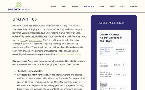 Screenshot of Signup Page aurorachorus.org - Sing with Us - Aurora Chorus - captured Nov. 6, 2018