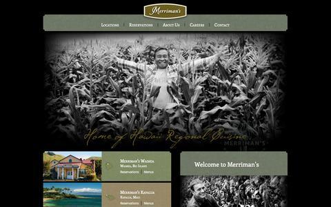 Screenshot of Home Page merrimanshawaii.com - Merriman's Hawaii Restaurant's -  Kapalua, Maui - Waimea & Waikoloa, Big Island - Poipu, Kauai - captured Oct. 1, 2014