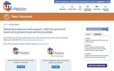 Screenshot of Login Page litigationservices.com - Your Account - Litigation Services - captured Nov. 18, 2015
