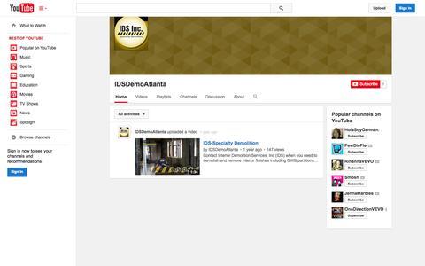Screenshot of YouTube Page youtube.com - IDSDemoAtlanta  - YouTube - captured Oct. 23, 2014