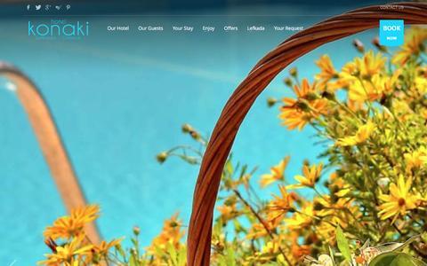 Screenshot of Home Page hotelkonaki.com - Hotel Konaki - Lefkada Island, Greece - captured Dec. 12, 2015