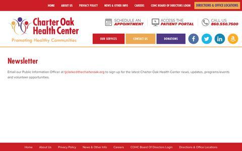 Screenshot of Signup Page thecharteroak.org - Newsletter  ::  Charter Oak Health Center - captured Sept. 27, 2018