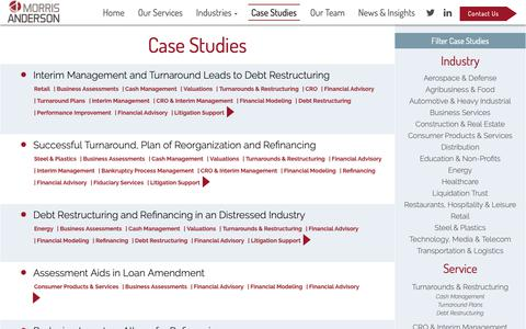 Screenshot of Case Studies Page morrisanderson.com - Case Studies Archive - MorrisAnderson & Associates, Ltd - captured Oct. 20, 2018