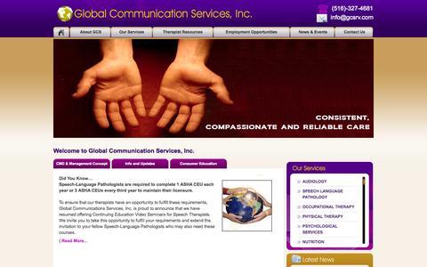 Screenshot of Home Page gcsrv.com - Global Communication Services - captured Oct. 8, 2014