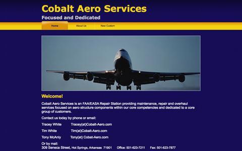 Screenshot of Home Page cobalt-aero.com captured Oct. 2, 2014
