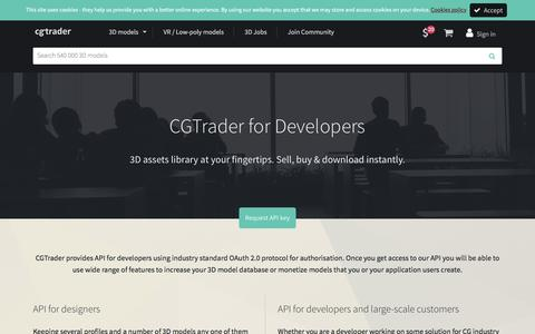 Screenshot of Developers Page cgtrader.com - CGTrader API for developers - access & manage 3D models | CGTrader.com - captured May 1, 2017