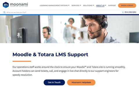 Screenshot of Support Page moonami.com - Moodle, Totara & Moodle Workplace LMS Support | Moonami - captured Sept. 17, 2019
