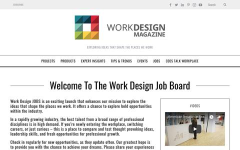 Screenshot of Jobs Page workdesign.com - Welcome to The Work Design Job Board - captured Oct. 18, 2018