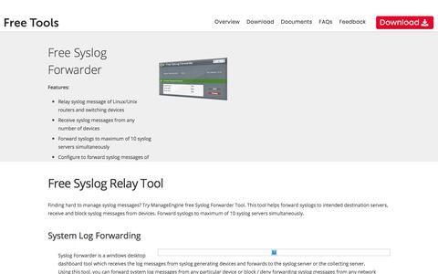 Free System Log Forwarding Tool – ManageEngine Free Tools