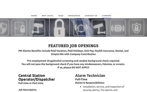 Screenshot of Jobs Page pmalarms.net - Careers - captured Sept. 25, 2018