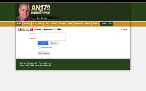 Screenshot of Login Page actionnews17.com - User Log In - captured Nov. 20, 2016