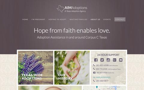 Screenshot of About Page aimadoptions.org - About AIM Adoptions - AIM Adoptions - captured July 23, 2016